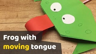 DIY tutorial PAPER FROG with moving tongue video for kids