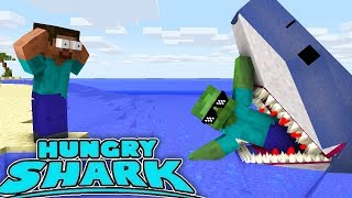 Monster School : HUNGRY SHARK GAME CHALLENGE - Minecraft Animation