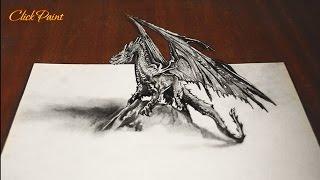 Как нарисовать ДРАКОНА 3D простым карандашом /DRAGON Smaug 3D / 画像をドラゴンの3d(Дракон 3D рисунок сделан на основе изображений фильма