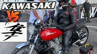 MOTORCYCLE GRUDGE RACING GONE WRONG! KAWASAKI KZ CHALLENGES NITROUS SUZUKI HAYABUSA DRAG BIKE!
