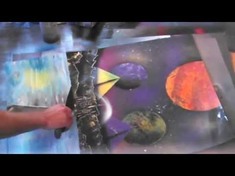 Spray Paint Art: Pyramids/Planets/Water/Mountains
