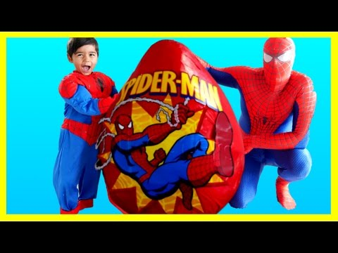 SPIDERMAN GIANT EGG SURPRISE TOYS Spiderman Opening Surprise Toys Spiderman Videos IRL Kids Video