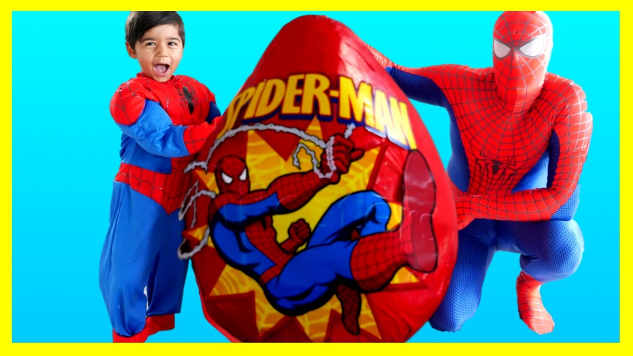Spiderman Toys For Kids : Spiderman giant egg surprise toys opening
