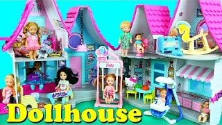 DOLLHOUSE!!! Kelly Dolls & Barbie Baby Doll House in the Hello Kitty Playset + Nursery & Bath Room