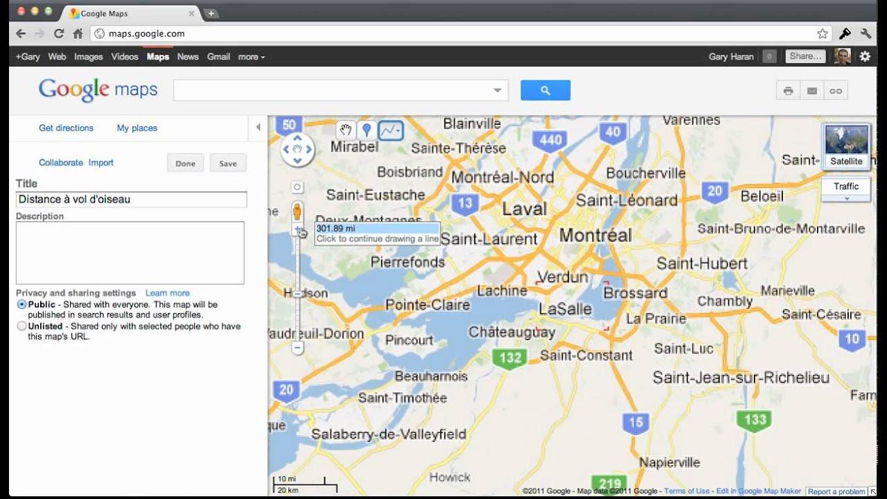 google maps distance vol doiseau