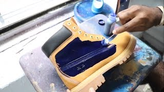 CUSTOM MADE BLUE TIMBERLAND BOOTS!!