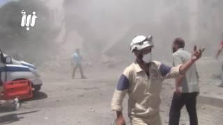 مشاهد لأثار الدمار ومن داخل المشفى للجرحى الذي سقطو جراء قصف الطيران الحربي على أحياء درعا البلد