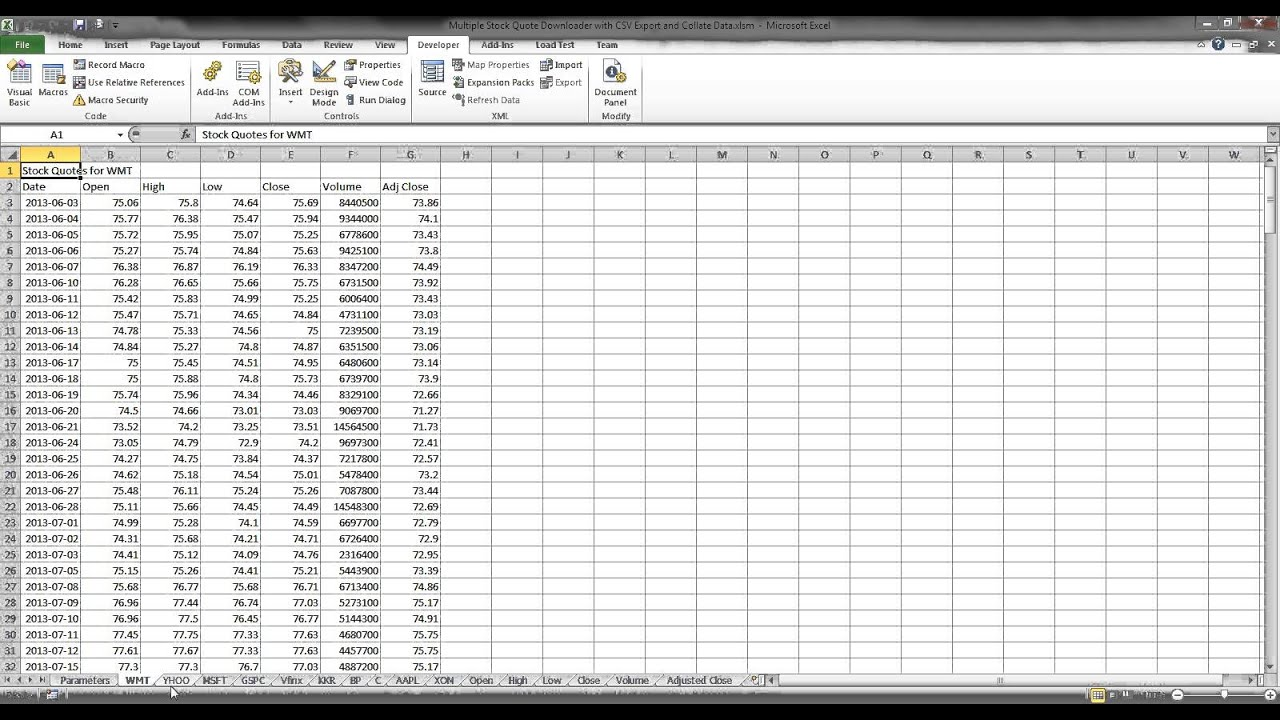 Historical Stock Quotes Bulk Historical Stock Quotes In Excel  Youtube