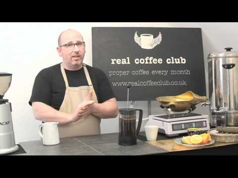 Nick Warren Real Coffee Club making the perfect cafetiere of coffee at the Making Bucks Studios