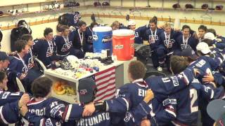 Team Sings Victory Song After Winning Gold at 2014 IIHF U18 World Championship