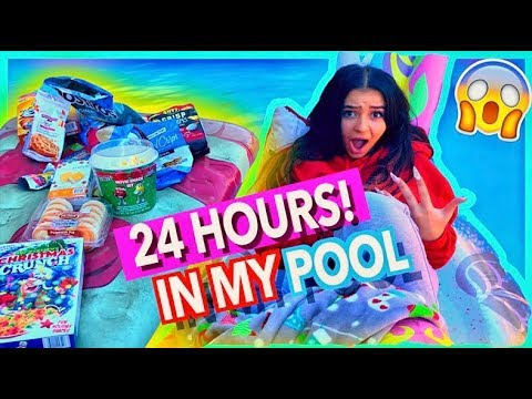 24 HOUR CHALLENGE OVERNIGHT IN MY POOL (Gone Very Wrong)