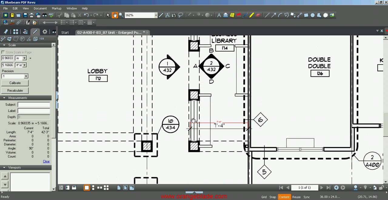 Measuring distance and area in a PDF with Bluebeam PDF Revu