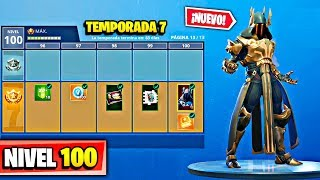 **SEASON 7** SKIN LEVEL 100 WITH ALL PURCHASED! at FORTNITE: Battle Royale BATTLE PASS