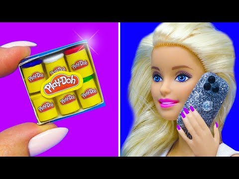 Barbie Doll Hacks. DIY Miniature Barbie Crafts: play doh, cake, iphone 11