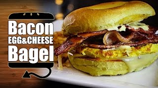 Drunk Bacon Egg And Cheese Bagel With Hollandaise Recipe - Hellthyjunkfood