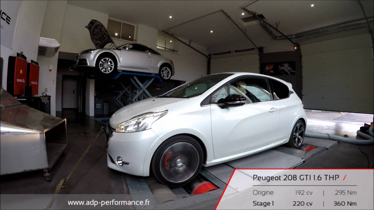 reprogrammation moteur peugeot 208 gti 1 6 thp 192 220 ps adp performance youtube. Black Bedroom Furniture Sets. Home Design Ideas