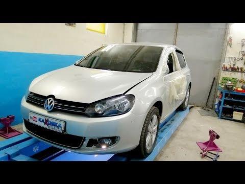 VW Golf VI.  Боковой. Проверка геометрии морды.  Вытяжка передней стойки.