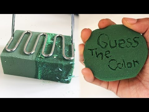 1 HOUR CRUSHING SOAKING FLORAL FOAM ! Guess the Color, Pressing, Wet VS Dry Foam ! Satisfying ASMR