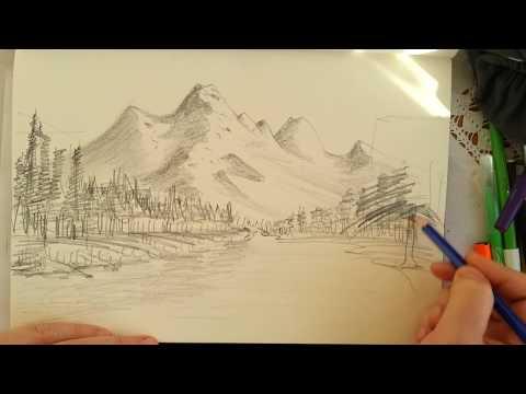 Karakalem manzara resmi / Nasıl çizilir? / How to drawing landscape picture?