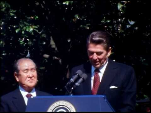 President Reagan at the Arrival Ceremony of Prime Minister Zenko Suzuki of Japan on May 7, 1981