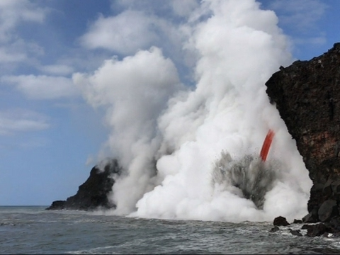 Giant Lava Stream Exploding into Ocean in Hawaii