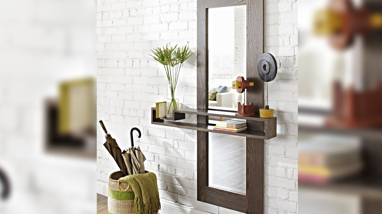 Diy wall mirror with a floating shelf youtube amipublicfo Gallery