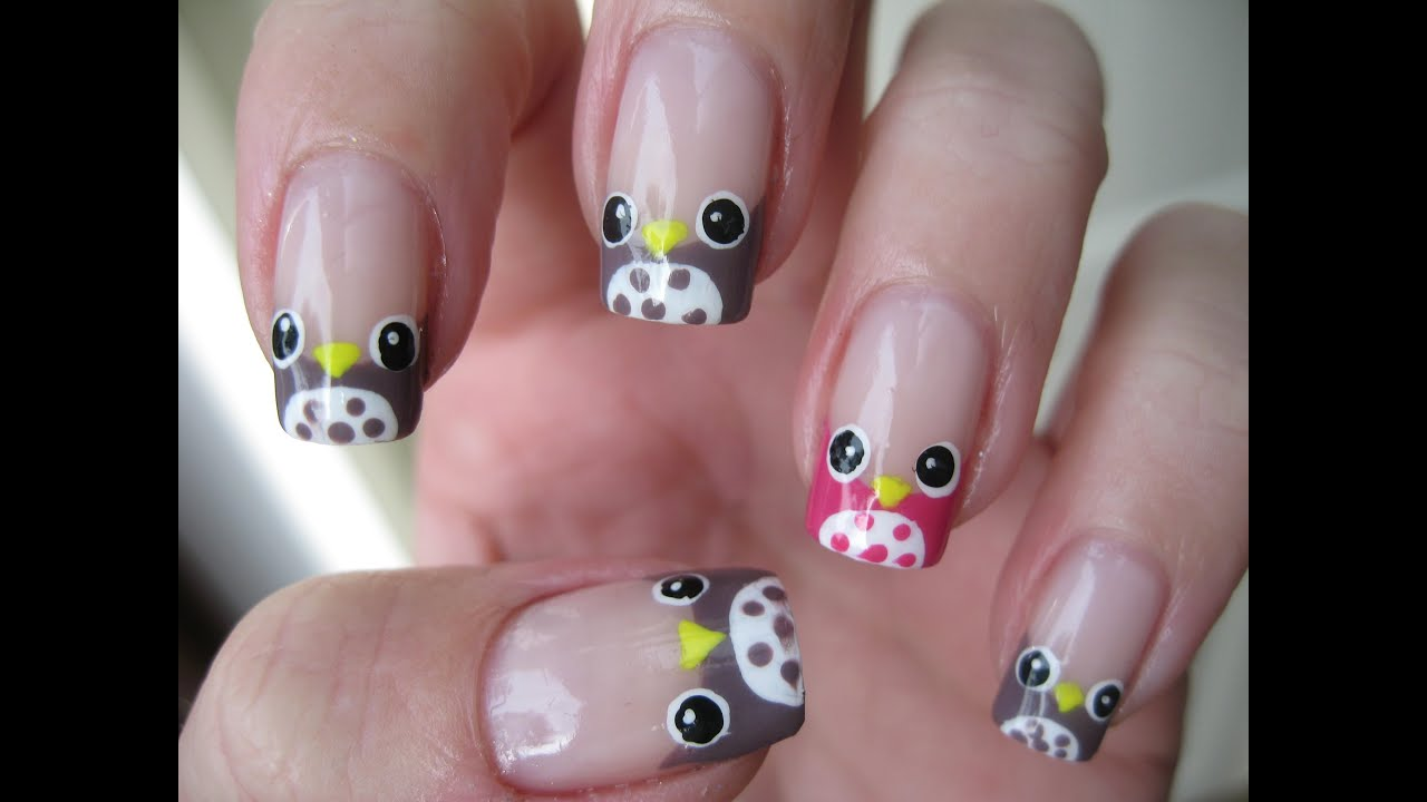 Nail art french manicure owls easy youtube for Decoracion de unas simple