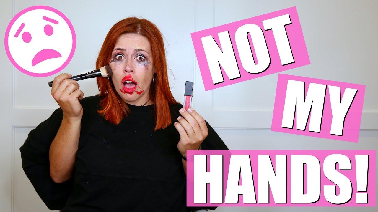 NOT MY HANDS CHALLENGE - Makeup Routine!!!