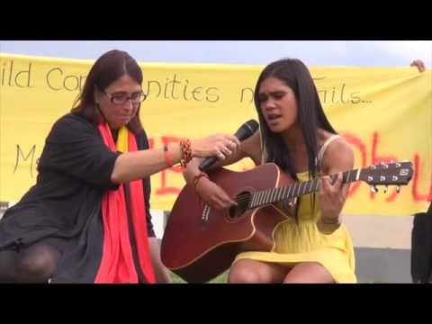 Keischa Haynes-Jamieson speaks and performs at National day of Action, Canberra, 23 October 2014