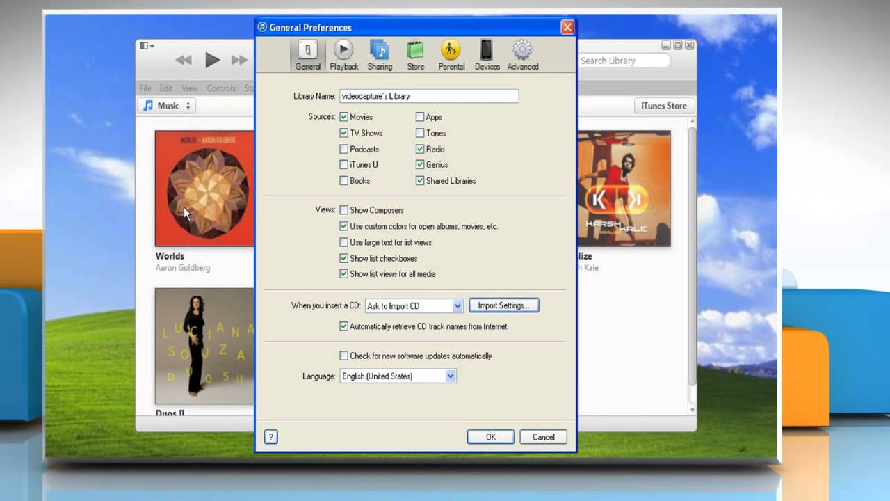 Set iTunes® to check for new Software Updates Automatically in Windows XP