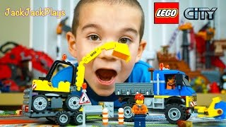 Lego Sweeper and Excavator Toy Truck Unboxing and Time Lapse Speed Build