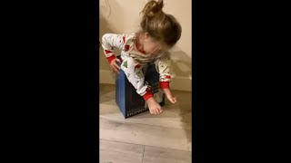 Baby Girl Falls Inside A Box When She Sits On It