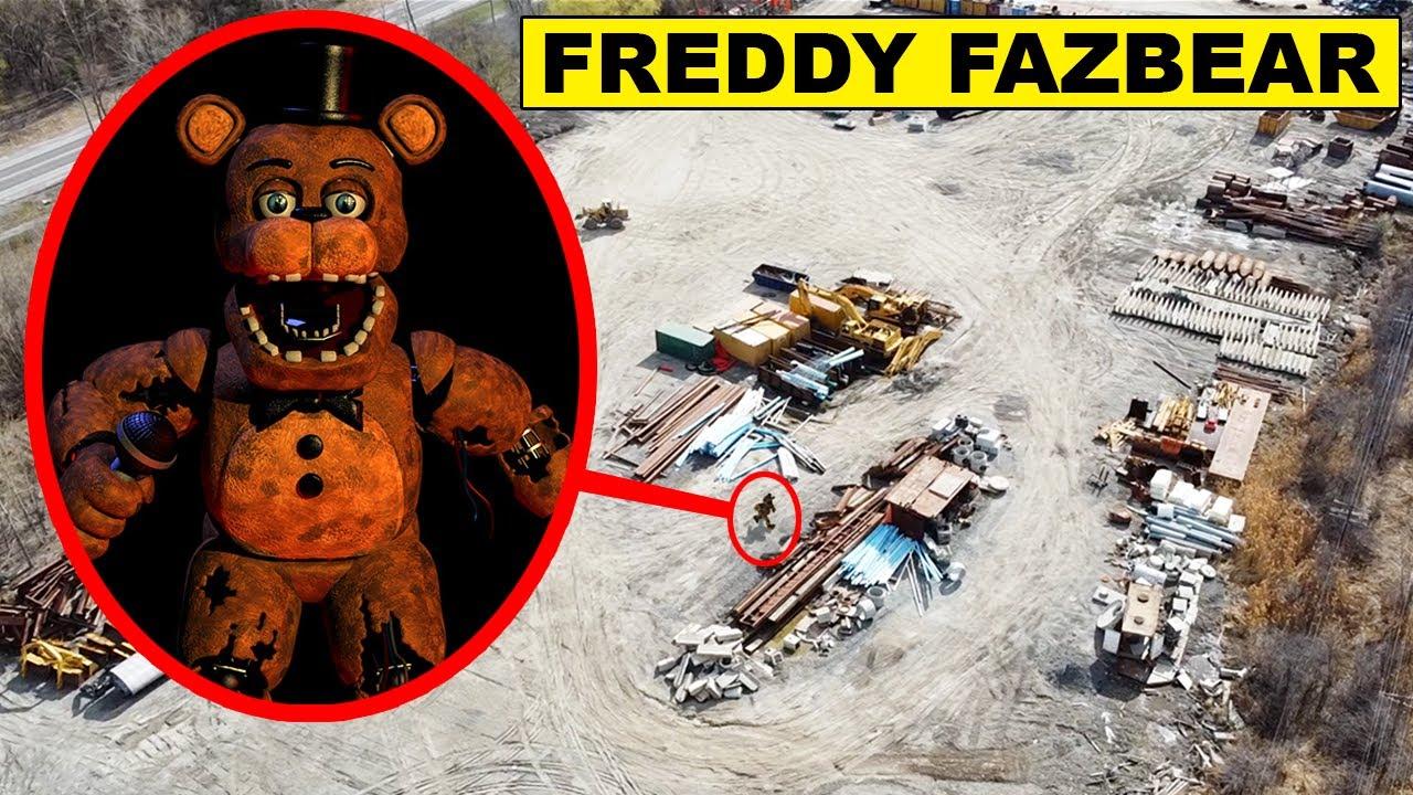 (FREDDY FAZBEAR IS REAL) DRONE CATCHES FREDDY FAZBEAR AT ABANDONED JUNKYARD | FIVE NIGHTS AT FREDDYS