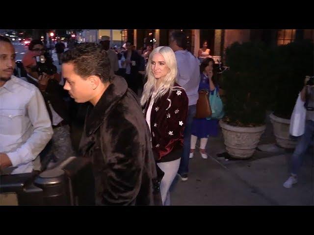 Ashlee Simpson and her boyfriend Evan Ross in New York City