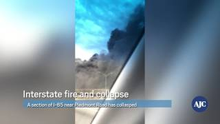 WATCH: Bridge collapses on I-85 during massive fire