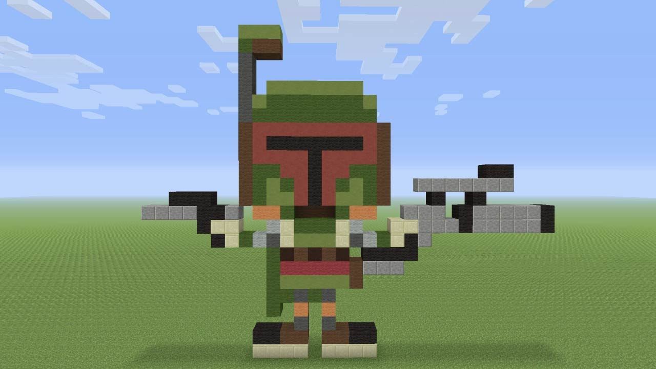 Minecraft Pixel Art Boba Fett From Star Wars Youtube