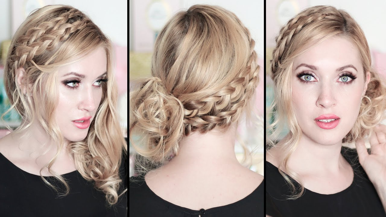 prom wedding party hairstyles braided side swept curls. Black Bedroom Furniture Sets. Home Design Ideas