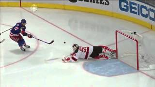 Martin Brodeur makes a spectacular save with his skate. 5/16/12
