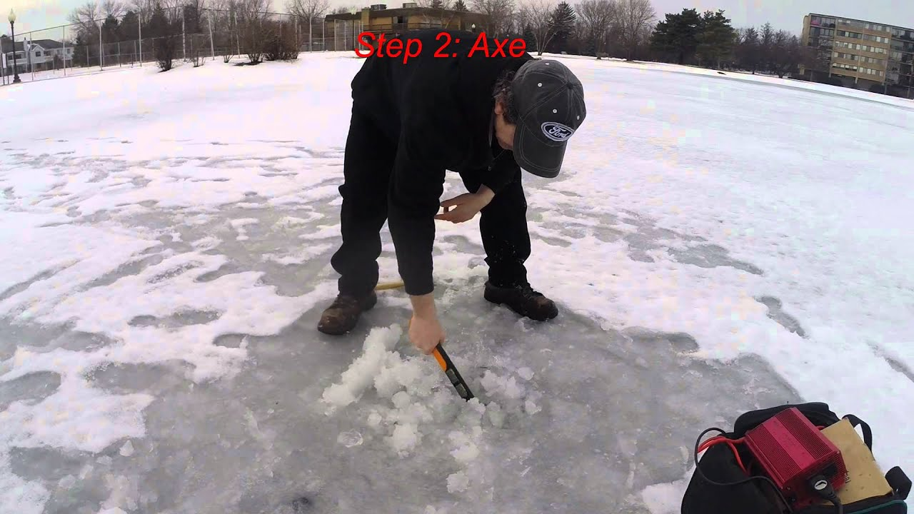 Making an ice fishing hole without an auger youtube for Ice fishing youtube