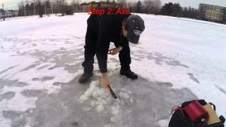 Making An Ice Fishing Hole Without An Auger
