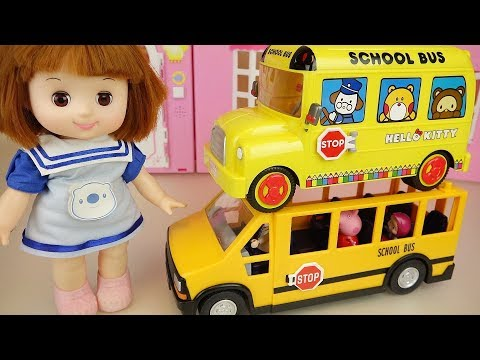 Baby doll and school bus hello kitty car toys play