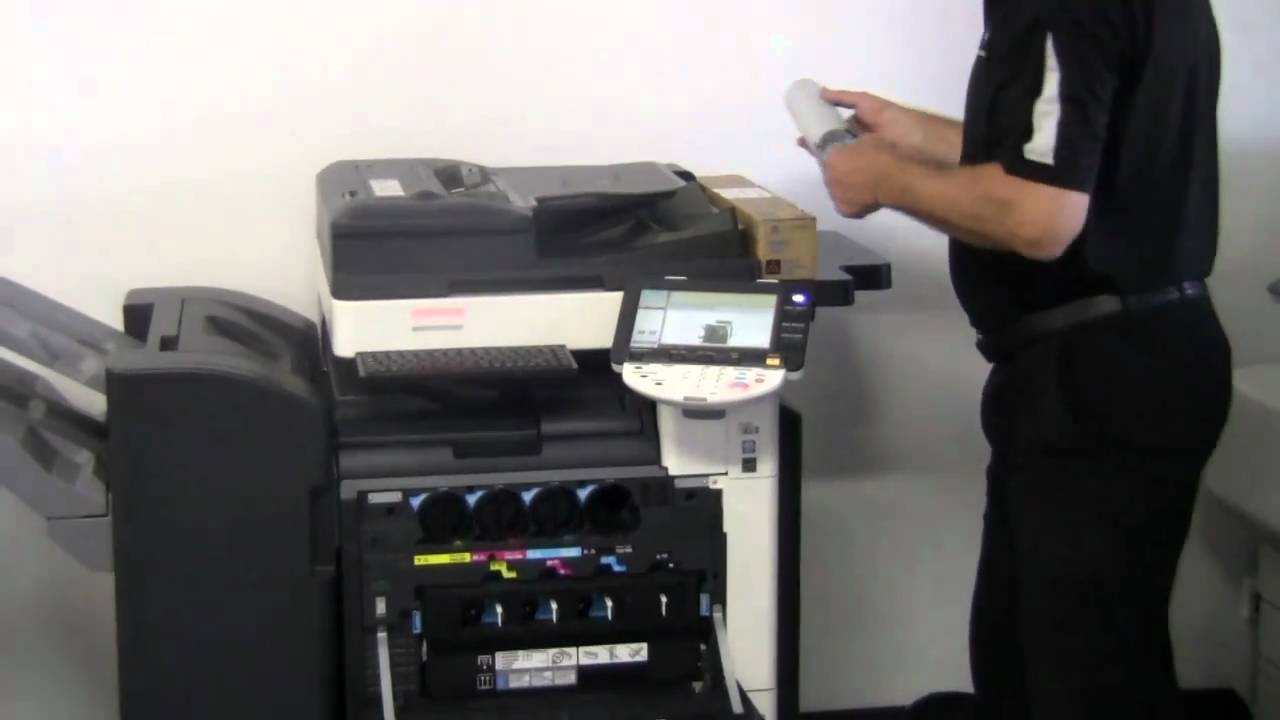How to Replace Toner Cartridges in bizhub C220/C280/C360 - YouTube