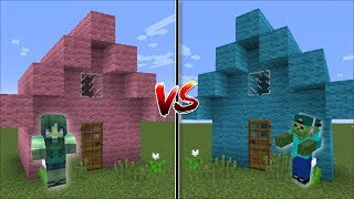 Minecraft BOY HOUSE VS GIRL HOUSE MOD / HELP MARK AND MARIE THE FRIENDLY ZOMBIE !! Minecraft