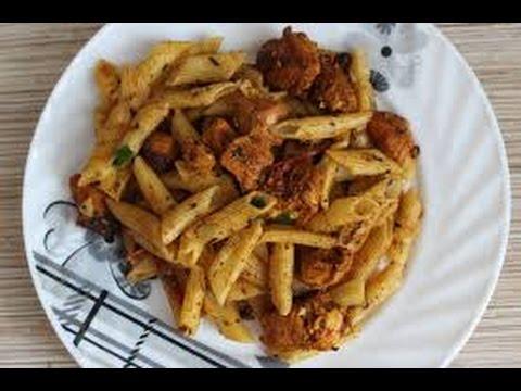 Вкусные макароны с курицей.