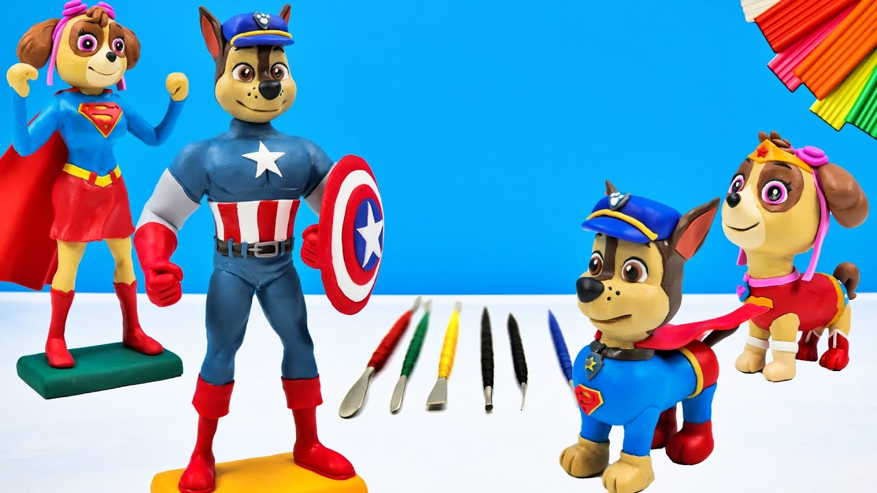 Paw Patrol mix Captain America and Superman with clay 👽 Superheroes 👽 Polymer Clay Tutorial