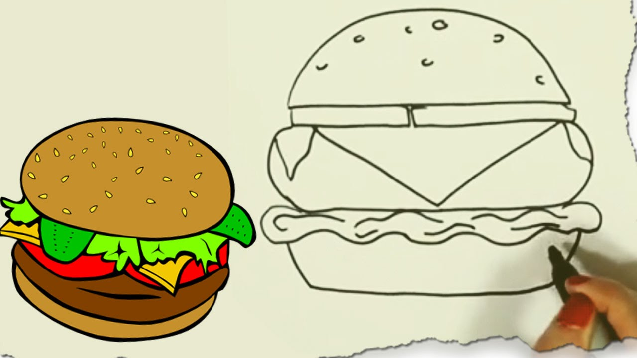 How to Draw a Hamburger by HooplaKidz Doodle | Drawing ...