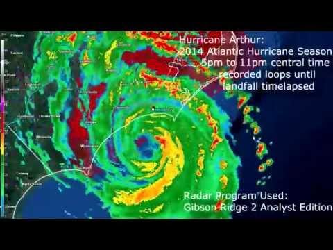 GR2Analyst Hurricane Arthur Radar Loop 7-3-2014 5pm-11pm central time Landfall