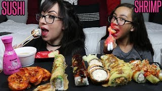 SUSHI AND SHRIMP MUKBANG | EATING SHOW | QUESTIONS
