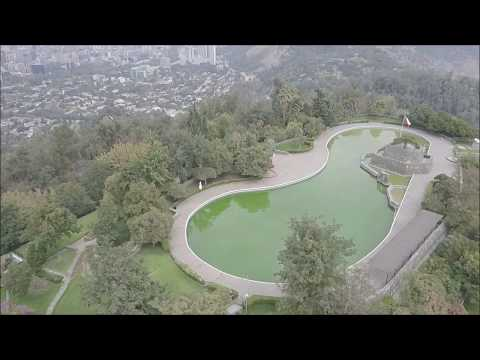 Drone aerial view at San Cristobal Hill in Santiago, Chile