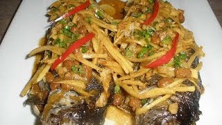 Fried Trout Fish With Ginger And Sweet Soy Bean Sauce (cheen Chourn) With Ingredients